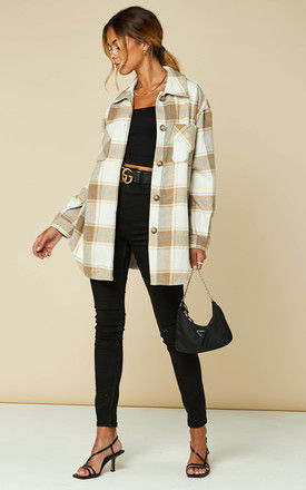 Oversized Shacket in Brown and White Check by VILA