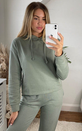 Long Sleeve Hoodie in Green by ONLY