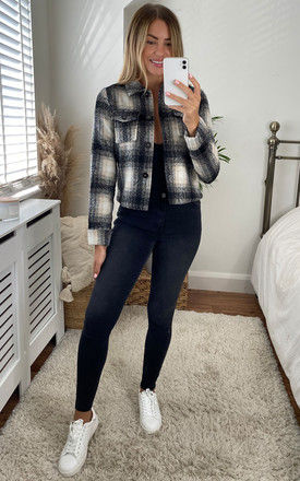 Cropped jacket in Black and Beige Check by ONLY