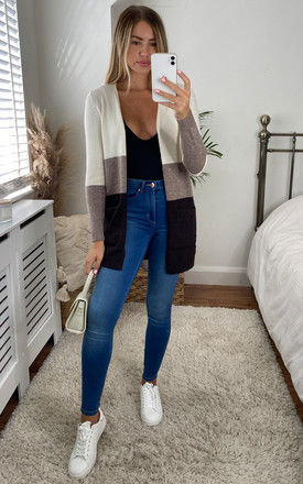 Open Front Cardigan In Brown Colourblock by ONLY