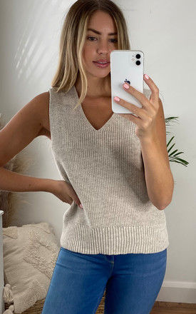 V Neck Knitted Tank Top in Beige by ONLY