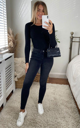 Ribbed Long Sleeve Top in Black by ONLY