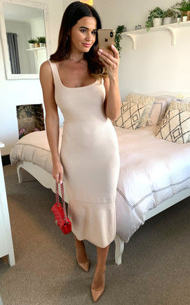 Cream square neck sleeveless knitted midi dress by D.Anna