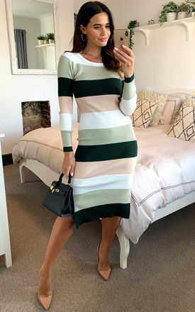Ribbed-stripe knit dress in green, ivory and cream by D.Anna