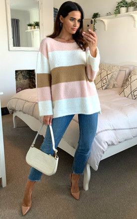 Pastel pink, ivory and beige stripe colour block fluffy knit jumper by D.Anna