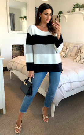 Black, grey and white stripe colour block long sleeve knit jumper by D.Anna