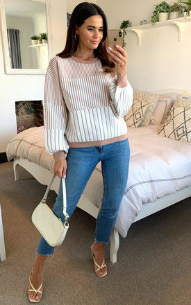 Stripe ribbed knit jumper with bell sleeves in beige and ivory by D.Anna