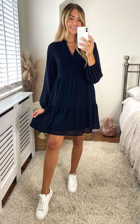 Smock Dress with Long Sheer Sleeves in Black by Object