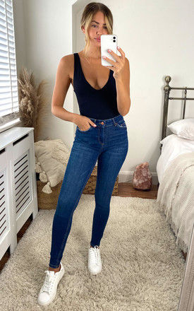 mid waist skinny jeans in blue by Pieces