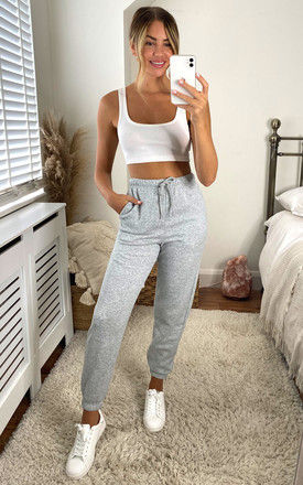 High waist sweat pants in Grey by Pieces