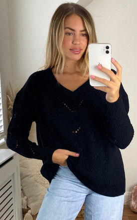 V neck knitted top with Eyelet Stitch Detail in Black by VILA