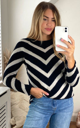 Long Sleeve Jumper with Chevron Stripes in Black and White by ONLY