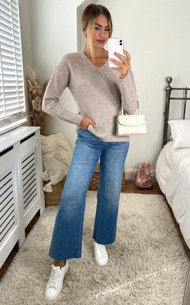 V neck pull over jumper in stone by ONLY