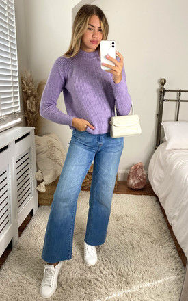 Ribbed Jumper With High Neck In Lilac by ONLY