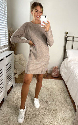 Knitted mini dress with cutline detail in beige by Noisy May