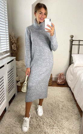 Knitted Midi Dress with Roll Neck in Light Grey by ONLY