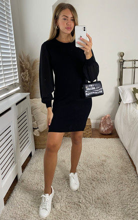 Knitted Dress with Organza Sleeves in Black by ONLY