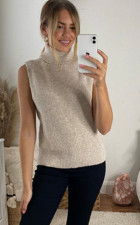 Sleeveless Knitted Top with Roll Neck in Beige by ONLY