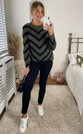 Long Sleeve Jumper With Chevron Stripes In Khaki and Black by ONLY