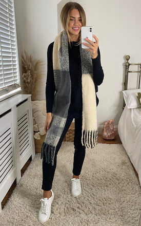 Colour Block Fringed Long Scarf in Grey by Pieces