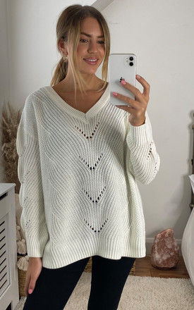V Neck Knitted Top With Eyelet Stitch Detail In white by VILA