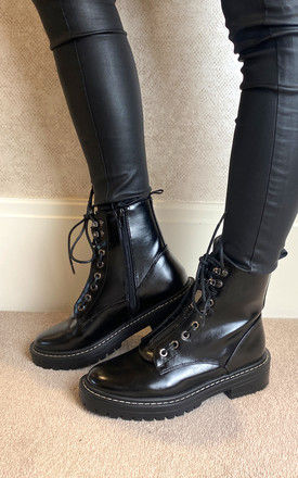 Combat Boot in Black PU by ONLY