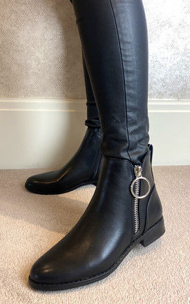 Ankle Boots with Silver Side Zip in Black PU by ONLY