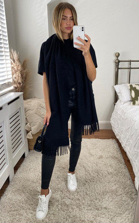 Long Fringed Scarf in Black by Pieces