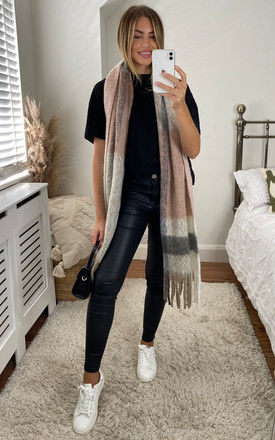 Colour Block Fringed Long Scarf in Pink by Pieces