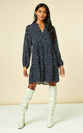 Smock Dress With Long Sheer Sleeves In Navy Ditsy Print by Object