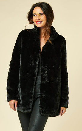 Faux Fur Coat with High Neck in Black by VM
