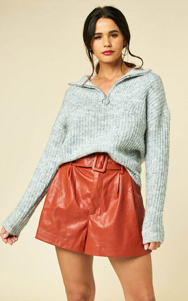 High Neck Zip Up Jumper in Grey by ONLY