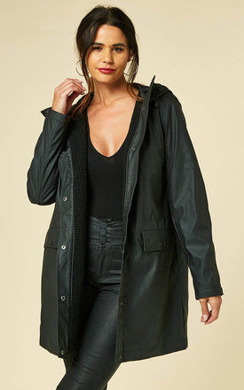 Raincoat with cosy Lining in Black by VM