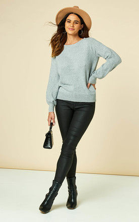 Boat Neck Knitted Top with Balloon Sleeves in Light Grey by VM