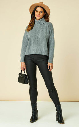 Roll Neck Knitted Top In Medium Grey by Noisy May