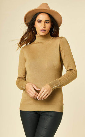 Knitted Roll Neck Top with Button Cuff in Camel by VILA