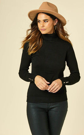 Knitted Roll Neck Top with button cuff in Black by VILA