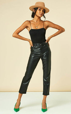 Straight Leg Coated Trousers in Black by VM