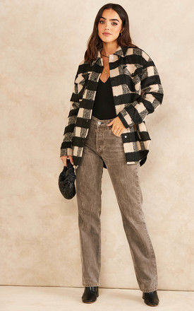 Shacket in Black and Beige Check by Noisy May