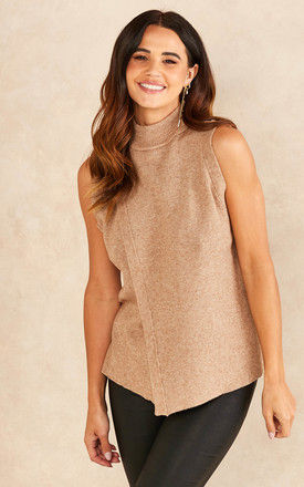 High Neck Sleeveless Knitted Wrap Top in Camel by Object