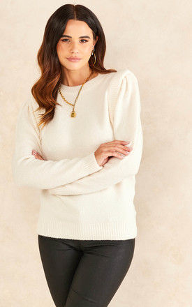 Jumper with Shoulder Detail in Cream by ONLY