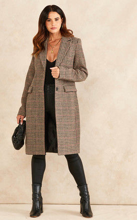 Wool Blend Coat in Brown HOUNDSTOOTH Check by VM