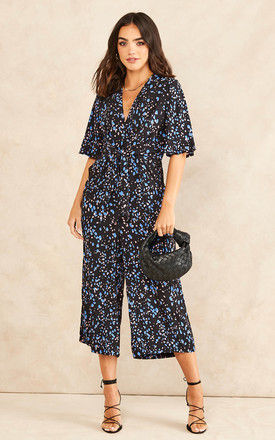 Kimono Knot Top Culotte Jumpsuit In Black with Blue Print by Bella and Blue