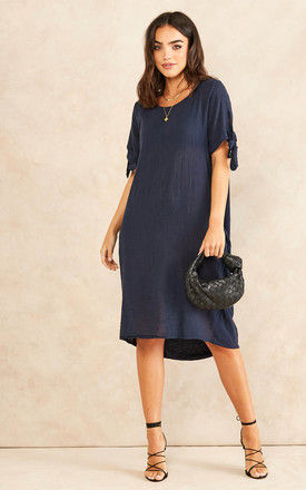 Oversized Dress With Side Pocket In Navy by Bella and Blue