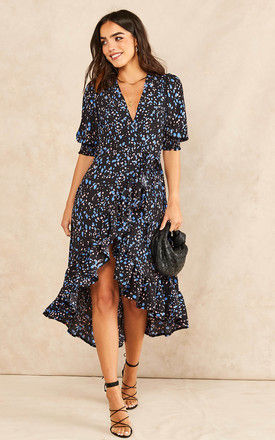 Midi Wrap Dress with Short Cuff Sleeve in Patterned Print - Black by Bella and Blue