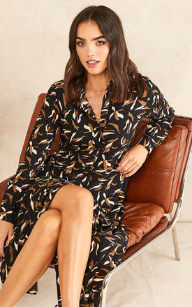Midi Shirt Dress in Black Patterned Print by Object