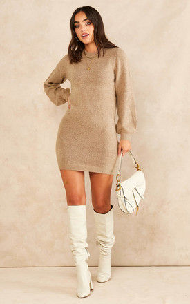 Knitted Dress with Balloon Sleeves in Beige by Object