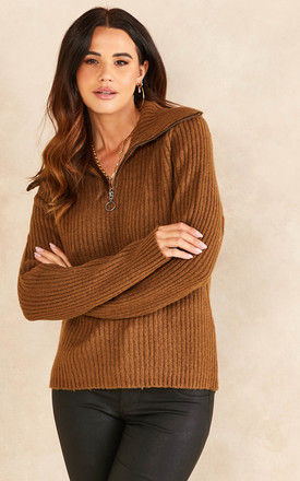 High Neck Jumper with Zip in Brown by Object