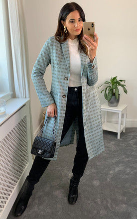 Jacket With Pocket in Grey Green Grid by D.Anna