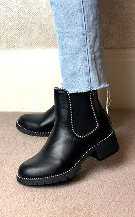 Chelsea Boots with Silver Studs in Black by Truffle Collection